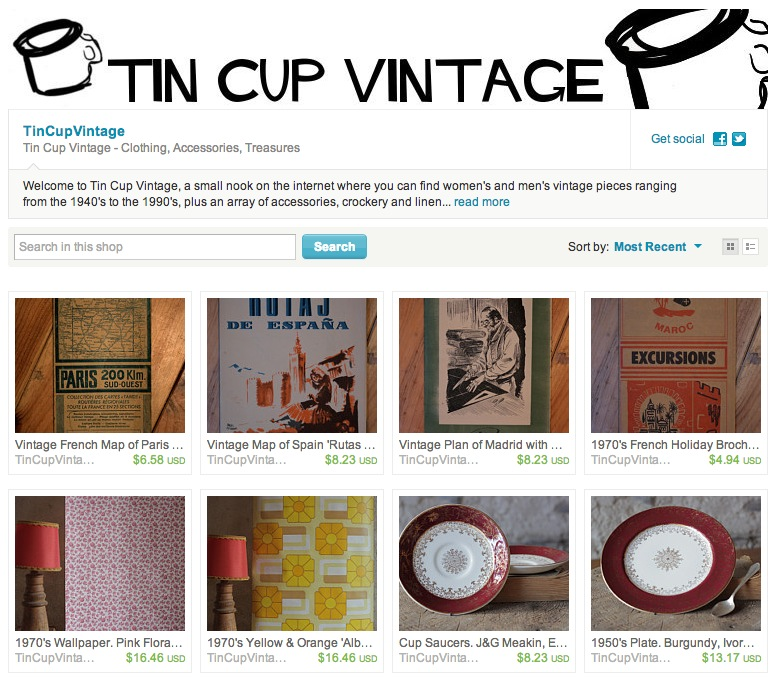 Tin Cup go vintage on Etsy