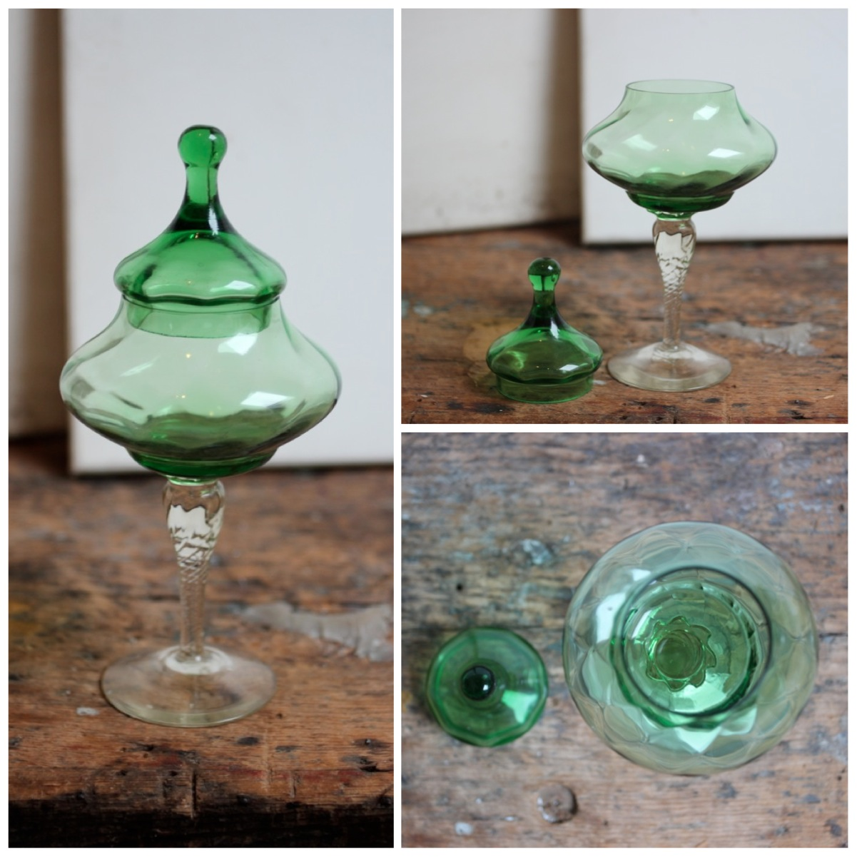 Friday's featured item – Vintage 1930s Glass Sweet Jar. Green and Clear Glass.