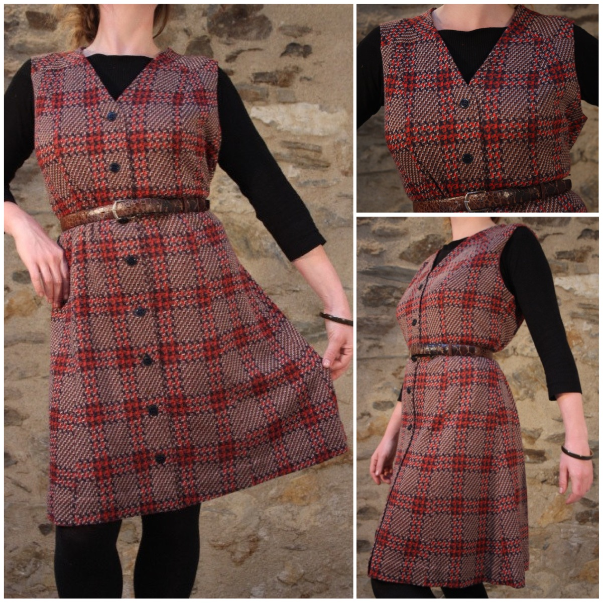 Friday's featured item – 1970's Tweed Autumn/Winter Dress Red Brown