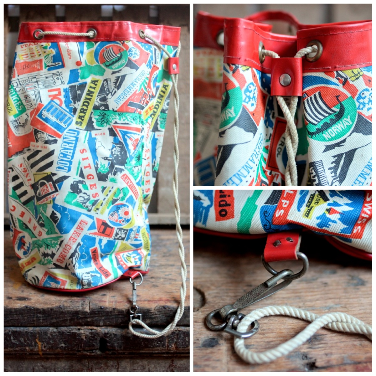 Friday's Featured Item – Retro Vintage Beach Bag with Travel Print