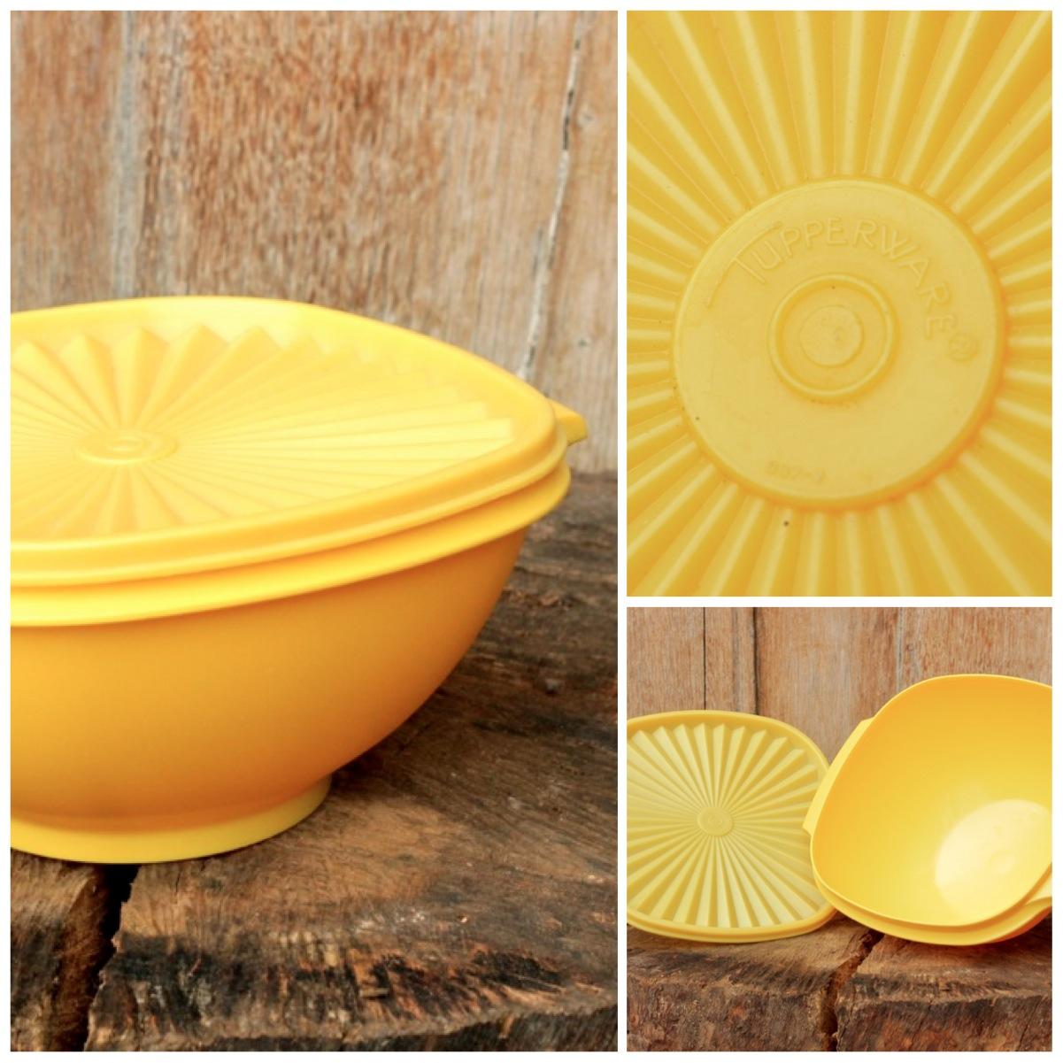 Friday's Featured Item – 1970's Retro Vintage Tupperware Box, Bright Yellow!